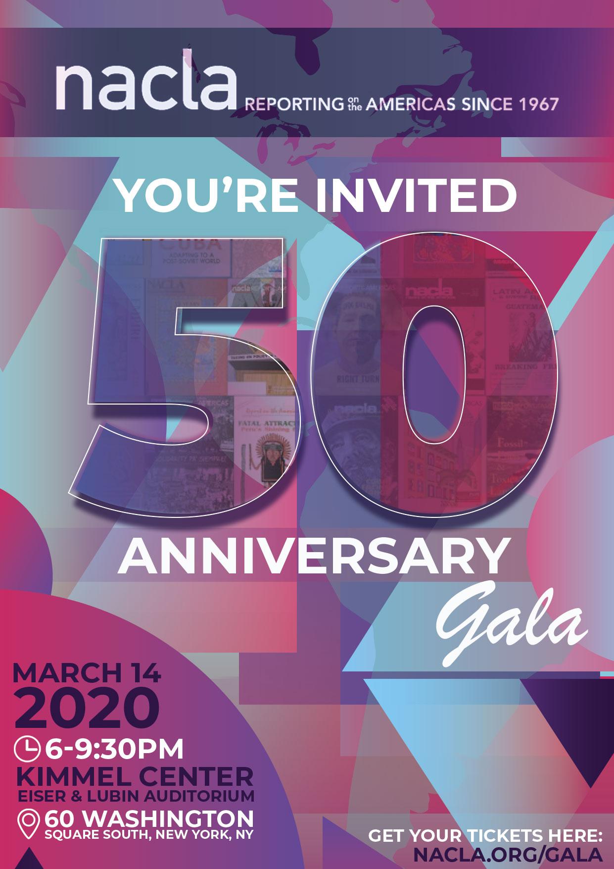 March 14: NACLA 50th Anniversary Gala