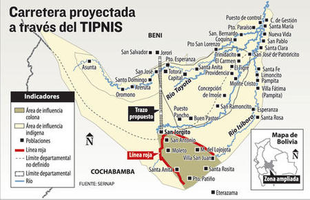 Proposed road and communities. Credit: La Razon.