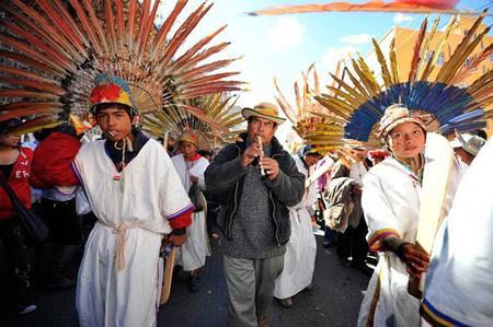 TIPNIS march arrives in La Paz. Credit: La Razon.