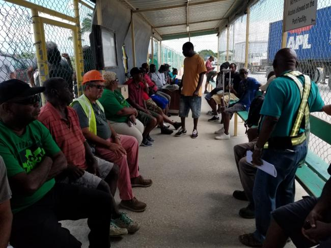 Stevedores gather on their sixth day of protest outside the PBL compound, March 7, 2020. (YaYa Marin Coleman)