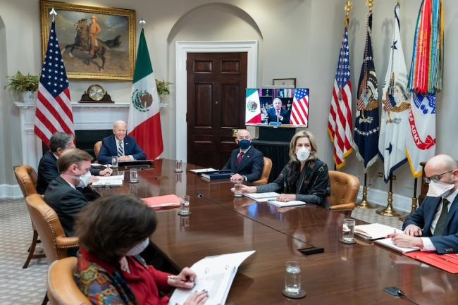 In his second meeting with a foreign leader, President Joe Biden met virtually with Mexican President Andrés Manuel López Obrador on March 1, 2021. (White House)