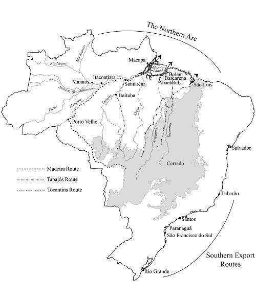 Desenho logístico do Arco Norte, indicando as rotas dos rios Madeira, Tapajós, e Tocantins.