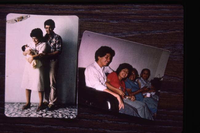 Photos of Edgar Fernando García and Nineth Montenegro and family, documented in 1985. (Patricia Goudvis / GAM)
