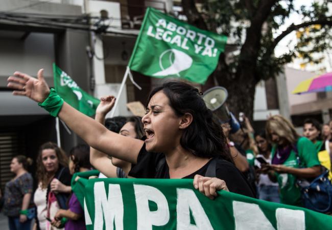 Manifestiantes marchan por el aborto legal en el Día Internacional de la Mujer, el 8 de marzo 2019, en Santa Fe, Argentina. (Lara Va / Wikimedia)