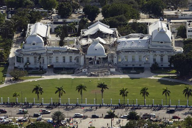 Haiti's national palace, located in Port-au-Prince, heavily damaged after the 2010 earthquake. The second story completely collapsed. (United Nations Development Programme / Wikimedia)