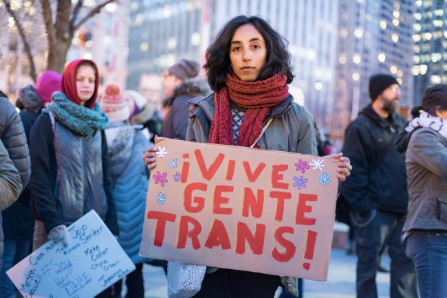 "A protest and march for the rights of trans people in Chicago this March - ""Long live trans people,\"" the sign reads. (Photo by Sarah Jane Rhee)."
