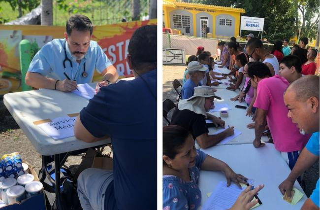Left: A medical professional offers services in Arenas. Right: Community members conduct a census in Arenas. (AUREA RODRÍGUEZ SANTIAGO)