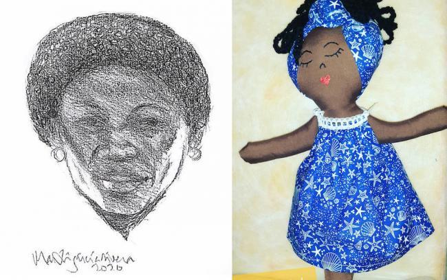 Un dibujo y una muñeca que rinden homenaje a Adolfina Villanueva Osorio. (Mía Libertad)