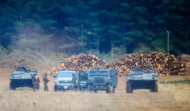 Personal de Fuerzas Especiales de Carabineros vigilan predio forestal en el sector de Pichillenkewe, Comuna de Los Alamos, Lavkenmapu. Agosto de 2019. (Julio Parra, fotoperiodista, director de Aukin)