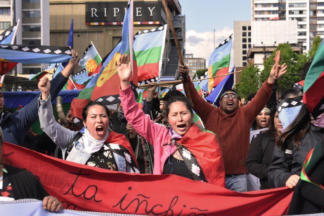 Se levanta la bandera mapuche en una manifestación en Concepción, en la región Bío Bío, Chile, 29 octubre 2019. (Tomás Flores Saavedra / Flickr / CC BY-NC 2.0)