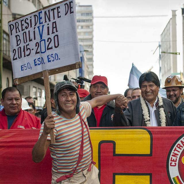 President Evo Morales at May Day rally in 2014 (Eneas De Troya / Creative Commons).