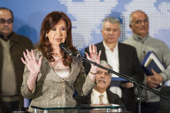 Ex-president Cristina de Kirchner leading an event at the Museo de Malvinas in 2015 (Mauro Rico / Ministerio de Cultura de la Nación)