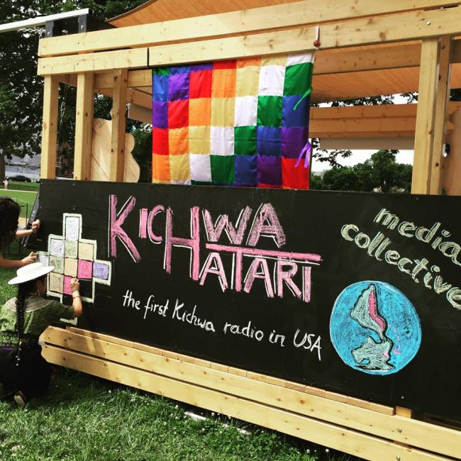Kichwa Hatari volunteers help prepare a float for the Smithsonian Folklife Festival in July (Photo from Kichwa Hatari)