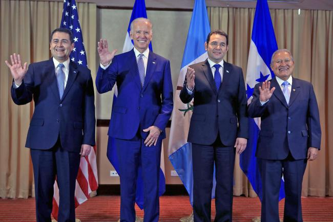 From left to right: President JOH of Honduras, U.S. Vice President Biden, President Morales of Guatemala, and President Sánchez Cerén of El Salvador in a 2016 meeting on increasing security and economic stability and decreasing undocumented migration. (Pr