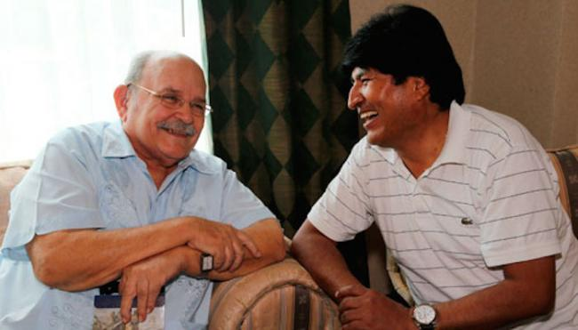 Miguel d'Escoto Brockmann and Bolivian President Evo Morales.(Nicaragua Solidarity Campaign)