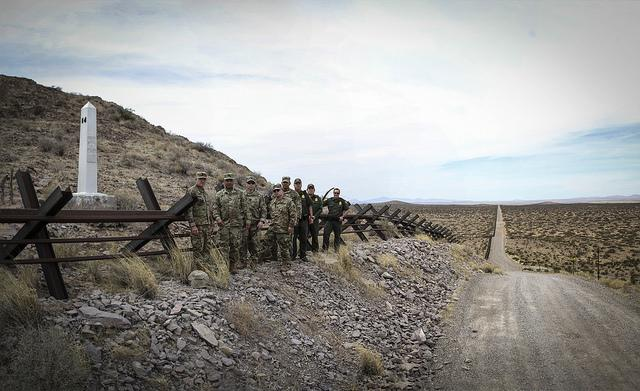 The New Mexico Army National Guard and the U.S. Border Patrol met to coordinate preparations for their deployment in support of border security on April 7, 2018. (U.S. Customs and Border Patrol)