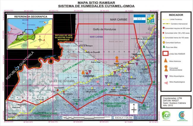 Barra del Motagua and Barra de Cuyamel are located inside PANACO. (Map by Gustavo Cabrera, 2012, via Ramsar)