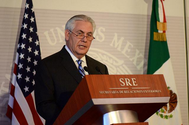 U.S. Secretary of State Rex Tillerson at a press conference in Mexico City in February. (U.S. Department of State)