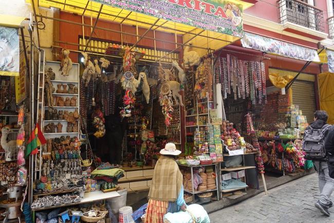 A storefront in the Mercado de Las Brujas in La Paz. (Photo by Frank Hukriede/Flickr)
