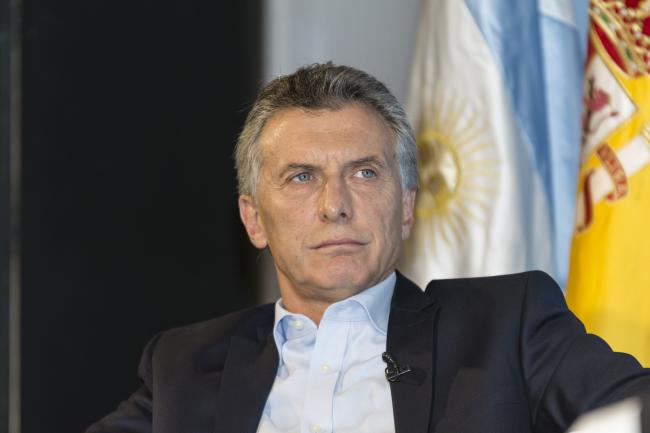 President Mauricio Macri during a debate with Mario Vargas Llosa in February, 2017. (Casa de América/Flickr).