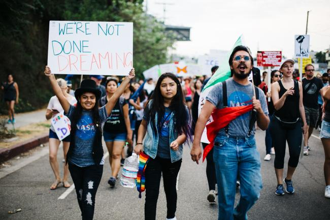 At the Los Angeles March for Immigrant Rights in September 2017 (Molly Adams/Flickr)