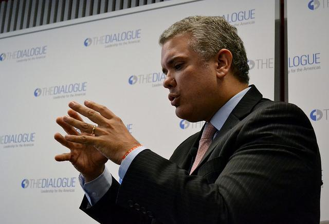 Right-wing presidential candidate Iván Duque at a panel in March 2018 (Flickr/Inter-American Dialogue)