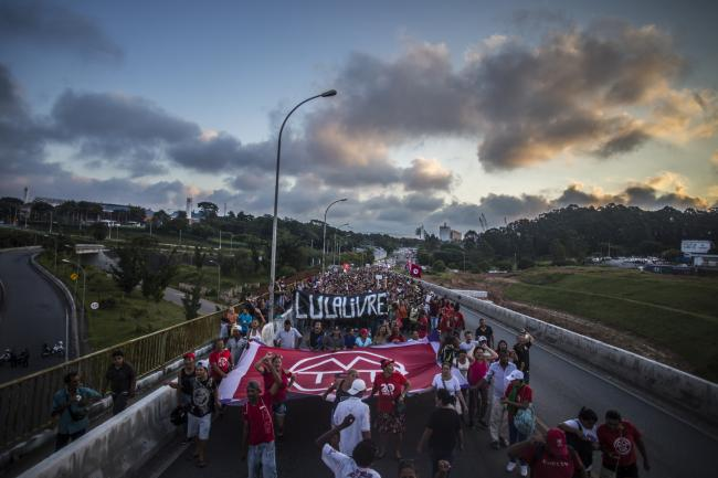 A protest against Lula's imprisonment in São Bernardo do Campo, São Paulo, on April 8 led by the Left coalition Povo Sem Medo (People Without Fear) (Midia Ninja/Flickr)