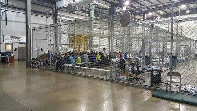 Border Patrol agents conduct intake of undocumented border crossers at the Central Processing Center in McAllen, Texas, on June 17, 2018. (U.S. Customs and Border Patrol)