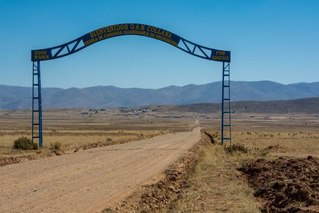La entrada a la municipalidad de Collana (Foto por Irene Escudero).