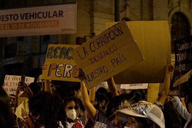 "A protester holds a sign reading ""Corruption embezzled our country,"" in Lima, November 12, 2020. (Samatha Hare / Flickr)"