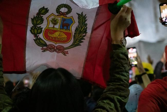 A demonstrator raises a flag during a protest in Lima, Peru, November 17, 2020. (Samantha Hare / Flickr / CC BY 2.0)