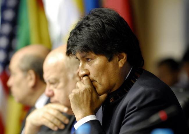 Evo Morales at the OAS Generally Assembly in 2012 (Photo by Juan Manuel Herrera/OAS via Flickr)