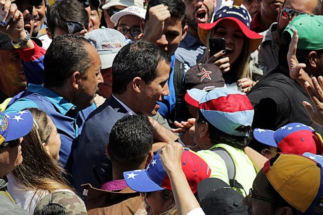 Juan Guaidó in a crowd of anti-Maduro protestors in early February 2019 (Alex Abello Leiva/Wikimedia Commons).