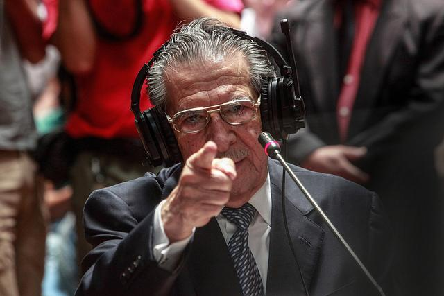 Former Guatemalan President Efrain Rios Montt testifying during the trial in May 2013. (flickr/Trocaire)