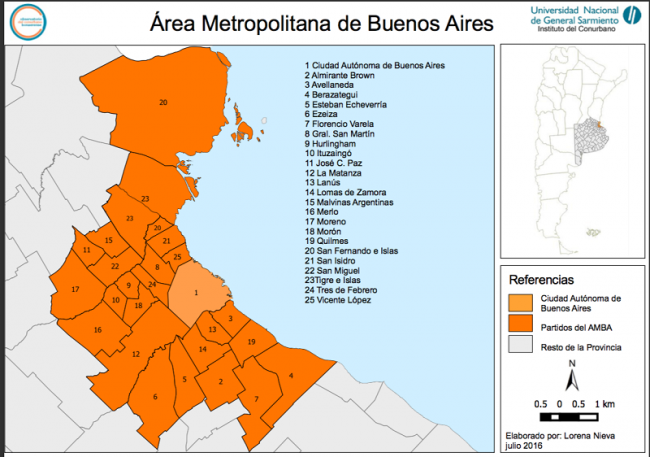 The UTT has succeeded in expanding around the Metropolitan Area of Buenos Aires, which is divided in 24 districts, home to 10 million people. (General Sarmiento University)