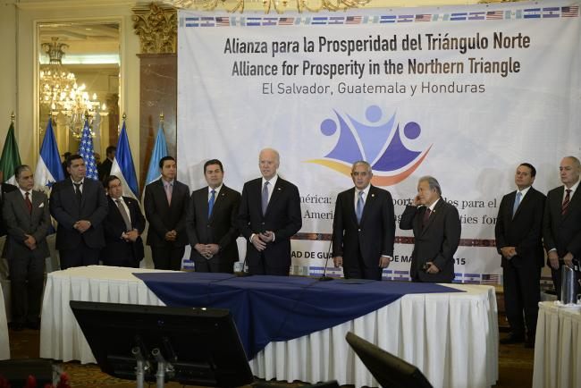 U.S. Vice President Joe Biden at a meeting with the presidents of Guatemala, El Salvador, and Honduras on the Alliance for Prosperity in the Northern Triangle of Central America. (U.S. Embassy Guatemala/ Flickr)