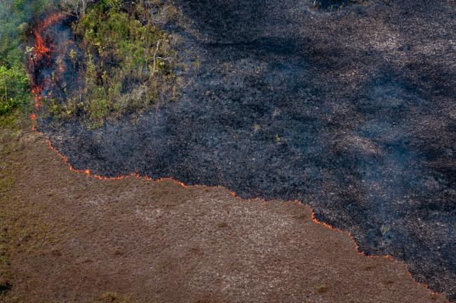 A line of fire advancing toward the lower part of the photo leaves charred earth behind in Brazil's Amazon region in August 2019. (Photo by Vinícius Mendonça/Ibama/Flickr)