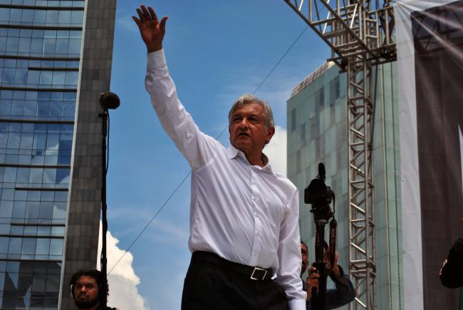 "Andres Manuel Lopez Obrador, president of the National Council of Movimiento de Regeneración Nacional (National Regeneration Movement), at the end of the ""March-rally in defense of oil"" in the Columbus Monument in Mexico City. (Photo by ProtoplasmaKid)"