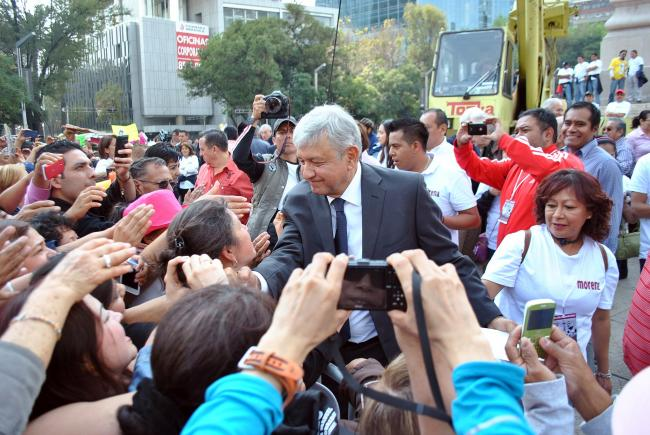 Andrés Manuel López Obrador at a rally in 2012 (Wikimedia Commons)