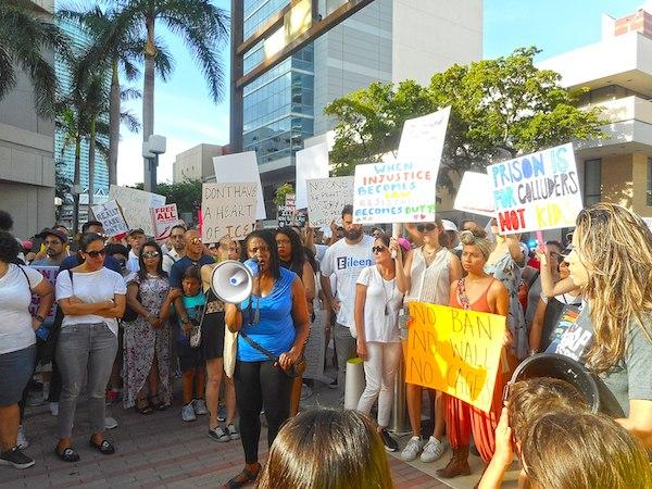 Anti-Trump protesters in Miami, Florida demand an end to family separation (Photo by Daniel Di Palma/Wikimedia Commons)