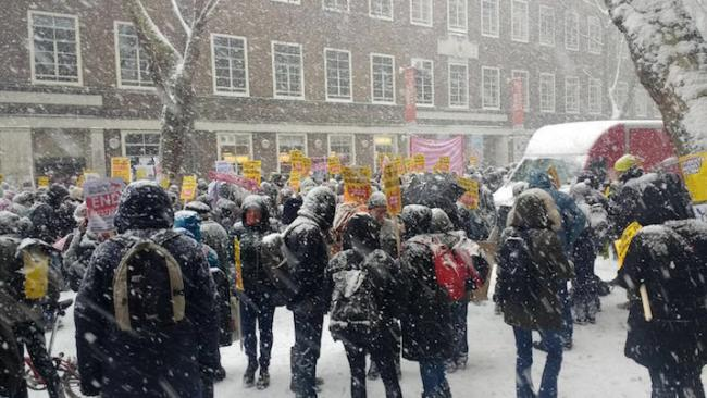Tens of thousands of academics in the United Kingdom have been on strike over pension cuts since late February. (Photo courtesy of Angus McNelly and Jeffery R. Webber)