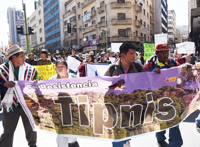 Demonstration against TIPNIS road, La Paz, August 2017 (Photo from La Razón)