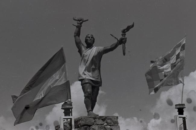 This statue of Túpac Katari was constructed in Ayo-Ayo, Bolivia by Kataristas in 1969. Photographer: Diego Pacheco. (Courtesy of the Archivo Central del Museo Nacional de Etnografía y Folklore)