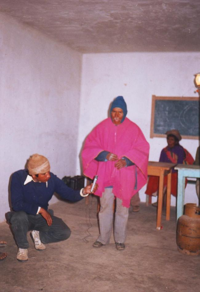 A radio theatre performance on Santos Marka T'ula involving members of the Radio Teatro Patacamaya in Ch´oxña, Gualberto Villarroel Province in 1988. (Courtesy of the Andean Oral History Workshop)