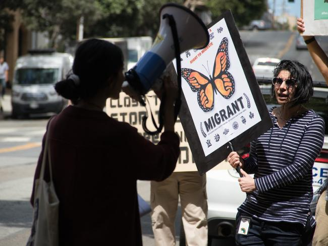 Demonstrators protest inhumane treatment of immigrants, especially children, in U.S. detention, in San Francisco, August 2019. (Photo by Peg Hunter/Flickr)