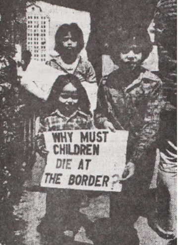 Children at a CCR protest in 1980. (Photo courtesy of the Herman Baca Papers at the University of California San Diego Special Collections and Archives)