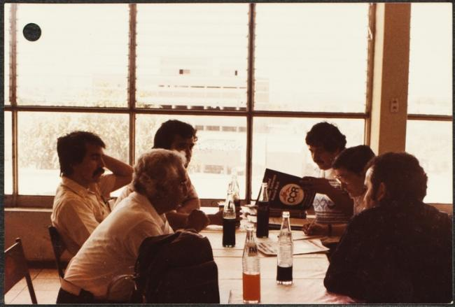 Drafting Resolutions at the 1980 Conference (Photo courtesy of the Herman Baca Papers at the University of California San Diego Special Collections and Archives)
