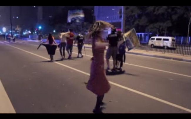 Grainy footage from The Edge of Democracy (Petra Costa)
