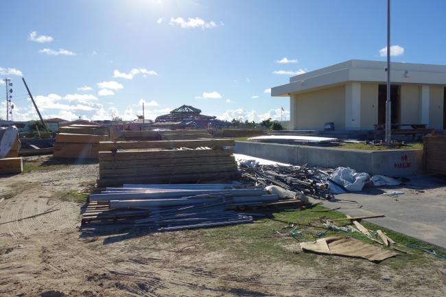 Building materials for new development projects in Barbuda (photo courtesy of Rebecca Boger and Sophia Perdikaris).