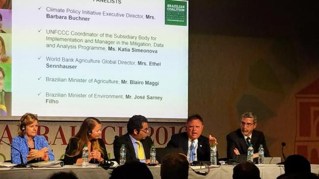 Brazil's Minister of Agriculture, Blario Maggi, responds to audience questions at a COP22 side event sponsored by the Brazilian Coalition. (Photo by Orion Cruz)
